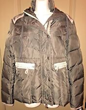JETLAG Woman Bomber Jacket Coat Brown Distressed Orange Hooded Fur Large New