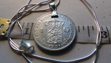 "1931 Dutch Nederlanden Royal Lion Silver Coin Pendant & 22"" Italian Silver Chain"