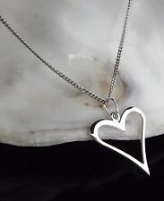 Sterling Silver 925 Jewellery Heart Outline Pendant Chain Necklace Gift Box