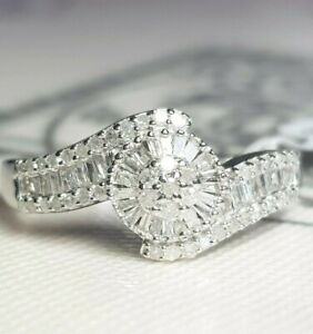 *BEAUTIFUL* .925 0.50CT DIAMOND ROUNDS/BAGUETTE DECORATIVE CLUSTER RING