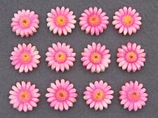 (12) VTG bright pink DAISY flower celluloid cabochon charms JAPAN flat back 16mm