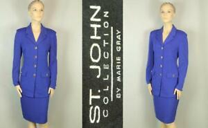 ST JOHN Periwinkle Blue Santana Knit 2pc Button Up BLAZER JACKET Pencil Skirt 10