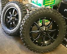 """20"""" Moto Metal MO970 Black Wheels 35"""" Mud Tire Package 6 lug Chevy GMC Ford"""