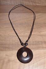 Handmade round wooden necklace