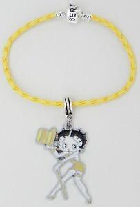 "Betty Boop Yellow Braided Serjaden Bracelet / Anklet Sizes 6 to 11 1/2""  #283"