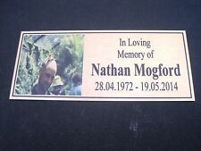 "Memorial Plaque design your own up to 5 lines UV Protected ""exterior use"""