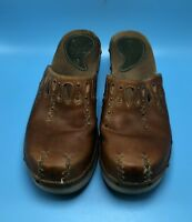 Indigo by Clarks Black Leather Clogs Mules Womens US Shoe Size 7M