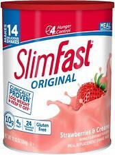 NEW SlimFast Original Strawberries & Cream Meal  Shake Weight Loss Powder – 12