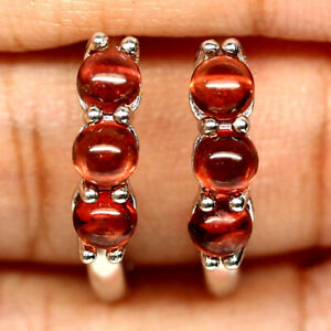 NATURAL ROUND CABOCHON ORANGE RED GARNET EARRINGS 925 SILVER STERLING