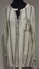FREE PEOPLE WOMEN  GAUZE SHIBORI MAGIC PRINT LAYERING TUNIC TOP SHIRT LARGE