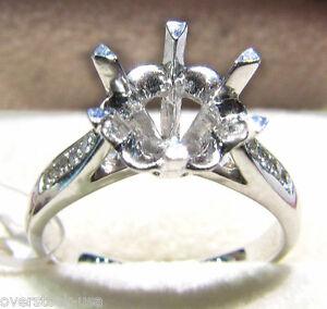 Solid Platinum 900 Pave Set  0.072CT Diamond Engagement Ring Setting