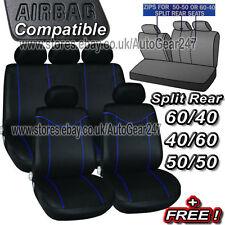 Black Blue Stitching Air Bag Friendly 5 Headrests Split Rear Car Seat Covers Set