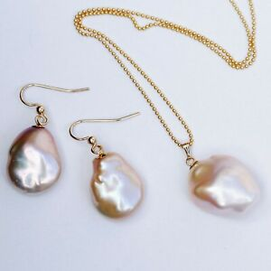 Nice High Luster natural purple Baroque Freshwater pearl pendant earring 14KGF