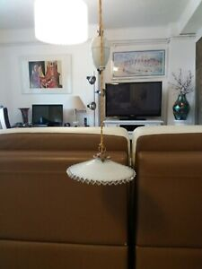 French Vintage Rise & Fall Light White Glass Shade White Porcelain Pullys .
