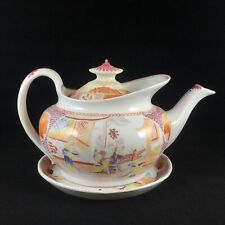 New Hall Boat Shaped Japanese Flared Cape Teapot & Stand — No. 621 c. 1800 — VGC