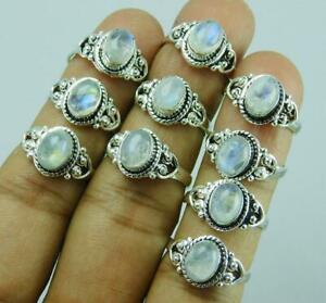 Rainbow Moonstone Gemstone 5 pcs Wholesale Lot 925 Sterling Silver Plated Rings