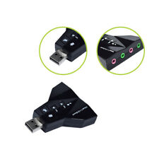 7.1CH Channel USB Audio Sound Card Adapter Dual Microphone Headset For PC Laptop
