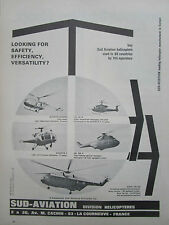 6/1969 PUB SUD AVIATION HELICOPTER ALOUETTE 2 3 SUPER FRELON PUMA GAZELLE AD