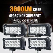 7inch 36W CREE FLOOD LED Work Light Bar Offroad Driving SUV Truck 4x4WD PK Osram