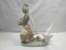 Lladro Figurine #1288 Aggressive Goose, Goose Chasing Girl with Basket, with box