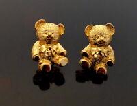 Teddy Bär, wunderschöne vergoldete Ohrclips Ohrringe, 1980s Boucles d'oreilles