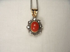 Fabulous Antique 14K Pink Rose Gold Diamond Undyed Red Coral Floral Pendant