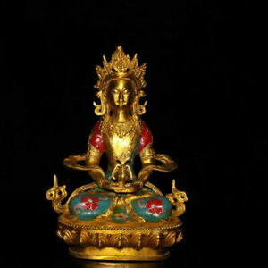 Collectibles Chinese Cloisonne Figures Buddha Brass Statue P119
