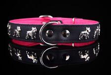 Leder-Halsband Französische Bulldogge, schwarz-pink, 45cm x 30mm, french bulldog