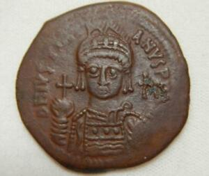 Byzantine Empire 547-548 AD Follis-Antioch-Regnal Year 21 - XF (with NGC Cert)