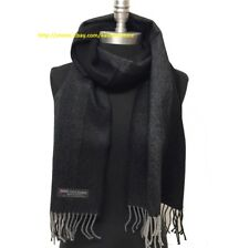 Men's Winter Scarf 100% Cashmere Tweed Stripe Grays Black SCOTLAND Wrap Shawl