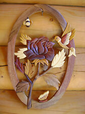 Rose / Bee / Hummingbird  Intarsia Wood Art - Wood Decor Wall Hanging - NEW