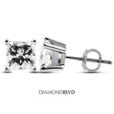 1.19 CT E/VS1/VG Princess Earth Mined Diamonds 14KW 4-Prong Basket Earrings 1.1g