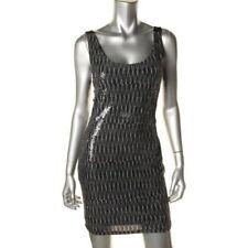 $80 Aqua Silver/black Open back Party Clubwear Dress L see measureme M 10 wjkl