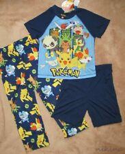 POKEMON *Pikachu & Friends* Navy 3pc S/S Shirt Pajamas Pjs Boys sz 5/6