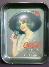 Coca Cola Heavy GMetal Serving Tray 1972 Collectible of 1913 Hamilton King Girl