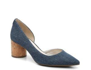 New Anne Klein Sz. 10M Necessity Denim Pointed Toe Pumps W/ Cork Round Heel Shoe