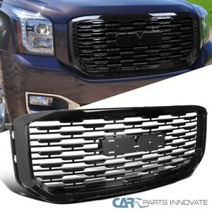 For 15-20 GMC Yukon XL Denali Mesh Style Glossy Black Front Hood Grill Grille