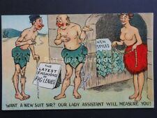 "Old Comic Postcard ADAM & EVE Taylors / Fashion ""WANT A NEW SUIT SIR?"" No.703"