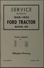 Ford 8N Tractor Shop Manual 1948 1949 1950 1951 1952 Service Repair Book
