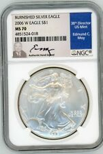 2006 W $1 Burnished Silver Eagle MS70 NGC Ed Moy