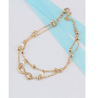 "Fashion Womens Silver Lucky ""8"" Heart Pearl Bangle Bracelet Charm Jewelry Gift"