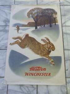"Original Vintage 1955 Weimer Pursell  Western Winchester RABBIT Poster 26"" x 40"""