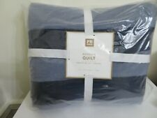 Pottery Barn Teen Benson Twin Size Quilt New Faced Navy Blue