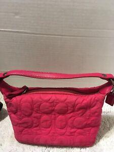 Coach Hot Pink Quilted Signature C Baguette Mini Hobo Shoulder Handbag Purse Sma
