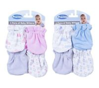 Baby 4 Pack Scratch Mittens Newborn 0+ Months Pink/Blue/Grey 100% Cotton Premia