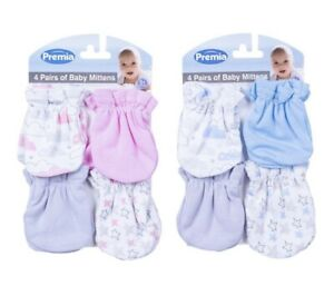 Baby 4pk Scratch Mittens Newborn 0+ Months Pink/Blue/Grey 100% Cotton Premia