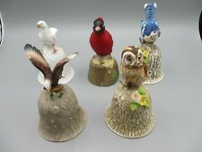 5 Bone China Vintage Towle Bells Cardinal/Eagle/Dove/Owl/B lue Jay