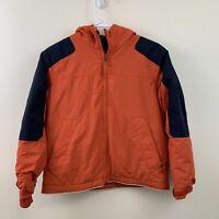 Lands End Boys Orange Zip Front Hooded Winter Jacket Fleece Lined Size S Husky