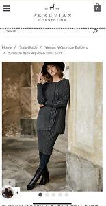 Peruvian Connection Size L Pencil Skirt BURNHAM BABY ALPACA & PIMA SKIRT