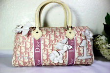 Vintage Christian Dior Pink Floral Dior Monograms Speedy Boston Doctor Dr. Bag